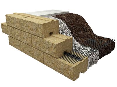 Muro a blocchi rinforzato con geogriglie Sistema Tenax T-Block