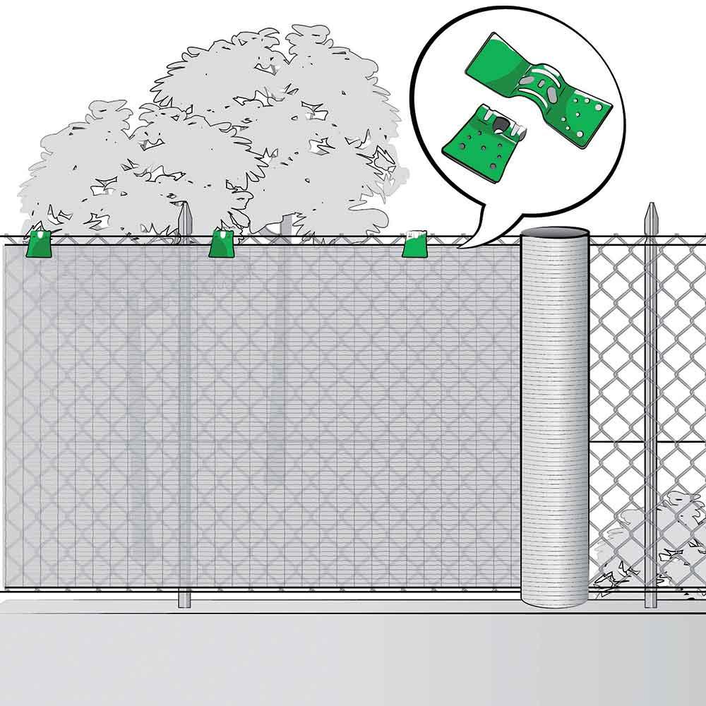 Installazione delle rete tessuta su cancellata e fissaggio con clips