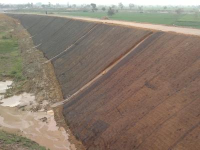 Protezione dall'erosione dei rilevati stradali con geostuoie e geocelle Tenax