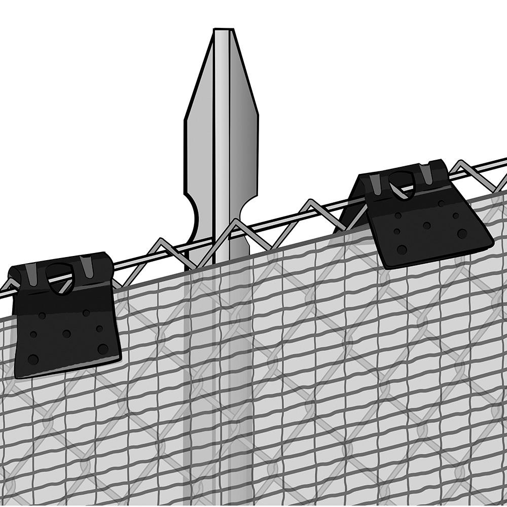 Applicazione delle clips TENAX per fissare reti e tessuti TENAX su recinzioni