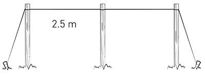Installazione rete per rampicanti, posa pali