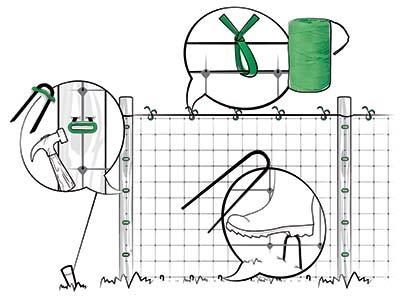 Installazione rete per rampicanti, fissaggio della rete