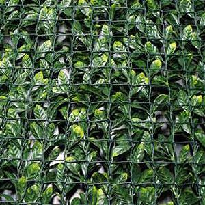 Siepe sintetica con foglie in PE su rete di supporto in plastica