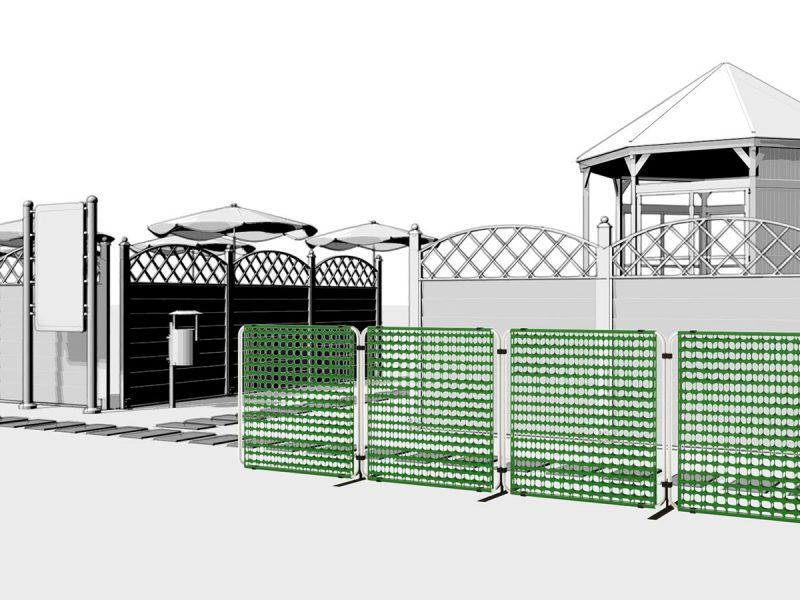 Barriera modulare per gestire il flusso di visitatori in ingresso per locali pubblici, spiagge, eventi